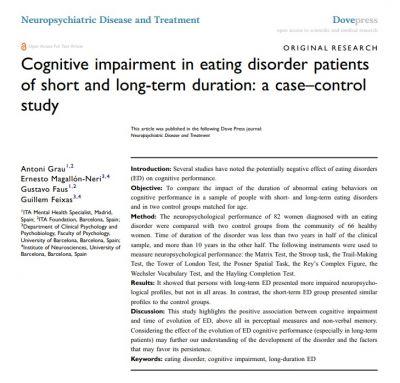 Un estudio llevado a cabo por Ita, detecta importantes tasas de Deterioro Cognitivo en pacientes con Trastorno Alimentario